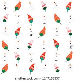 Tulip and Whirling dervish pattern. vector drawing. It can be used as wallpaper, gift or wrapping paper, notebook cover, background card for gift card, background print for table or poster.
