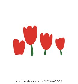 Tulips blooming in doodle style isolated on white background. Signature Icon. Vector outline illustration. Red spots. Can be used as icon or symbol. Decor element. Hand drawn sketch.