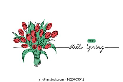 Tulips bouquet vector sketch, doodle.  Hello Spring lettering. Tulips web banner, illustration, border, card, background.
