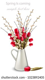Tulips and cherry flower branches in a white vase Vector