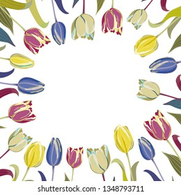Tulips in the corners on the white background with place for your text in the centre
