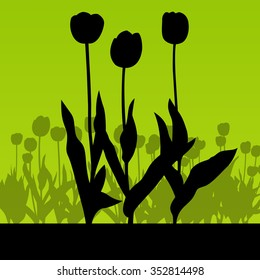 Tulips field vector background green abstract concept illustration