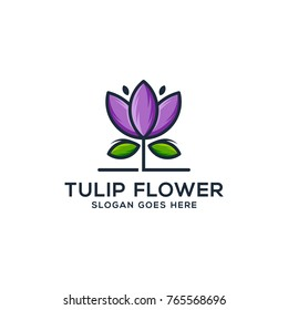Tulips flower logo template beauty spa brand design, Garden icon logotype vector illustration