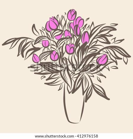 Tulips Flower Vase Sketch Drawing Vintage Stock Vector Royalty Free