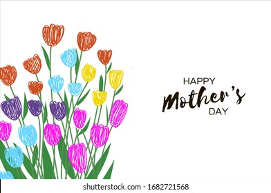 Tulips. Flowers on white background. Happy Mothers day. Spring time. Happy Womens day. Vector.
