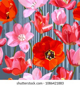 Tulips flowers. The pattern is seamless. Vector illustration.