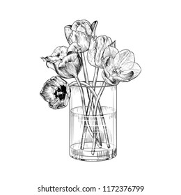 Tulips in a glass vase. Hand-drawn vector illustration of a sketch style.  Isolated interior elements. Vintage floral composition.
