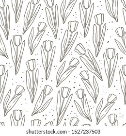 Tulips hand drawn doodle seamless pattern. Floral background for textile, wallpaper, wrapping paper. Stock vector