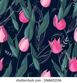 Tulips. Hand drawn style. Seamless vector texture. Floral pattern with  different kind of flowers.