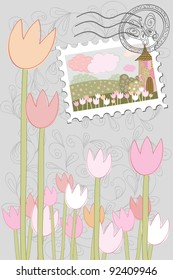 tulips in a magical land card