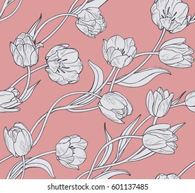 Tulips, pink floral seamless vector pattern.