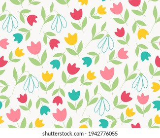 Tulips and Snowdrops spring summer floral Seamless Pattern Floral natural universal pattern Pink scarlet yellow tulip on white background pastel doodle Vector illustration