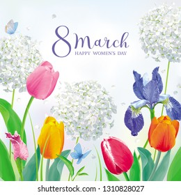 Tulips and spring flowers in amazing garden for Women's Day 8 March. Floral vector card in watercolor style with lettering design for 8 March, wedding, Valentine's Day,  Mother's Day, sales