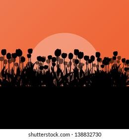 Tulips spring seasonal flower garden ecology concept detailed illustration background vector