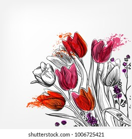 tulips vector card simple