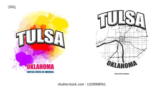 Tulsa, Oklahoma, logo design. Two in one vector arts. Big logo with vintage letters with nice colored background and one-color-version with map for every possible print production.