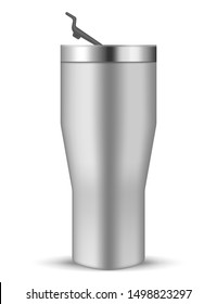 Tumbler cup with closing flip lid, realistic vector mockup. Stainless steel water bottle, mock-up. Travel thermo mug, template.