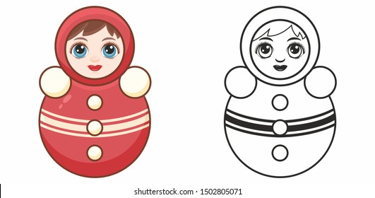 Tumbler doll. Roly-Poly toy. Russian doll nevalyashka. Tilting doll. Punching clown. Matryoshka vintage, Nevalyashka roly poly. Weeble wobbles dolls. Musik dolls. Children's toy. Design elements set.