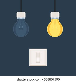 Tumbler switch, on and off light bulbs. Idea concept. Vector illustration in flat style design