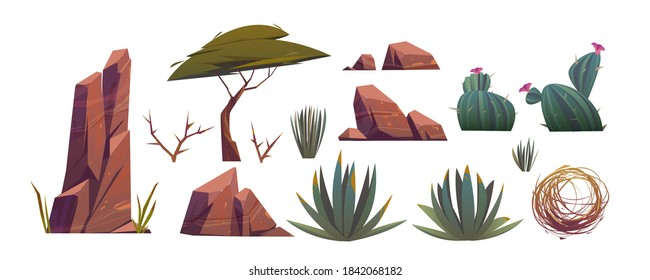 Tumbleweed, cactuses and rocks of sand desert in Africa. Vector cartoon set of stones, rolling dry bush, tropical green tree and desert plants isolated on white background