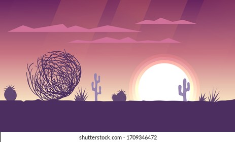 Tumbleweed rolls in the desert, sunset or sunrise with pink sky