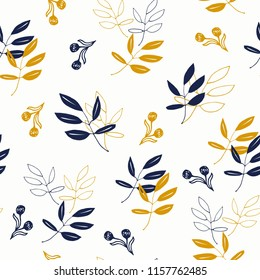 Tumbling Leaves in Navy and Mustard Yellow, Hand Drawn Leaves and Berries, Elegant Pattern, Cheerful Pattern, Seamless Floral Pattern, Branch Line Drawings