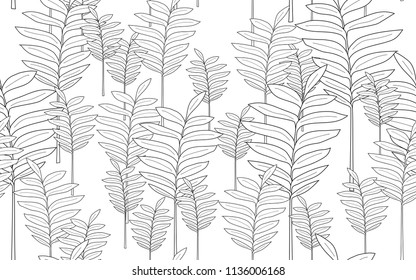 Tumeric leaves and exotic flowers composition. Vector illustration. Botanical seamless wallpaper. Digital nature art. Cartoon style sketch. White background.