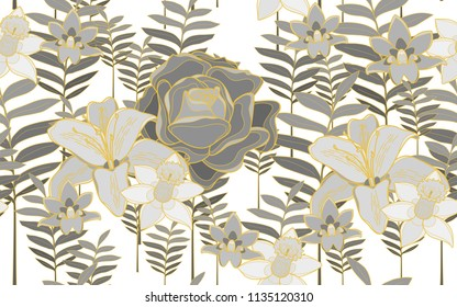 Tumeric leaves, roses and hawaiian flowers. Big leaves and exotic flowers composition. Vector illustration. Botanical seamless wallpaper. Digital nature art. Cartoon style sketch. White background.