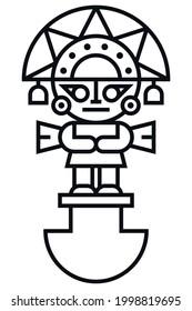 Tumi icon. Traditional pre-inca knife tool. Peruvian symbol logo design. Flat vector design isolated on white background.