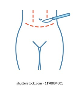 Tummy tuck plastic color icon. Abdominoplasty. Stomach liposuction. Abdominal lifting. Plastic surgery. Isolated vector illustration