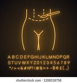 Tummy tuck plastic neon light icon. Abdominoplasty. Stomach liposuction. Abdominal lifting. Plastic surgery. Glowing sign with alphabet, numbers and symbols. Vector isolated illustration