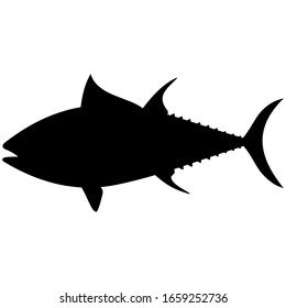 Tuna as an abstract vector graphic illustration in profile. Isolated on white background.