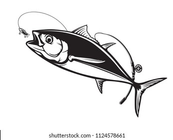 Tuna big fishing logo illustration. Tuna fish fishing vector emblem. Blue fin fish marine theme. Angry fish.