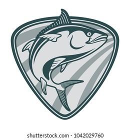 Tuna Blackfin Vector Illustration jump of tuna fish bluefin drawing logo