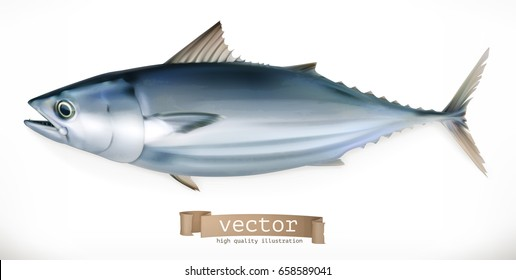 Tuna fish. 3d vector icon. Seafood, realism style.
