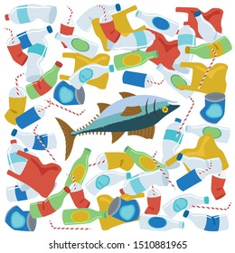 A Tuna fish die around a lot of plastic waste. Stock vector illustration.