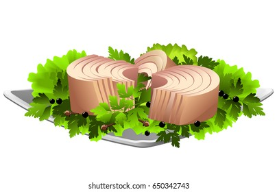 Tuna fish fillet on plate with parsley, lettuce and pepper. Hand drawn vector illustration on white background.