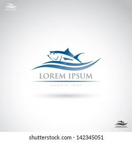 Tuna fish label - vector illustration