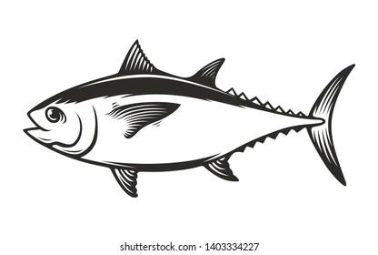 Tuna fish monochrome vector illustration