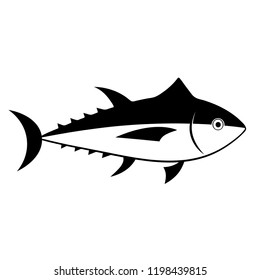 Tuna fish silhouette icon. Seafood clipart isolated on white background