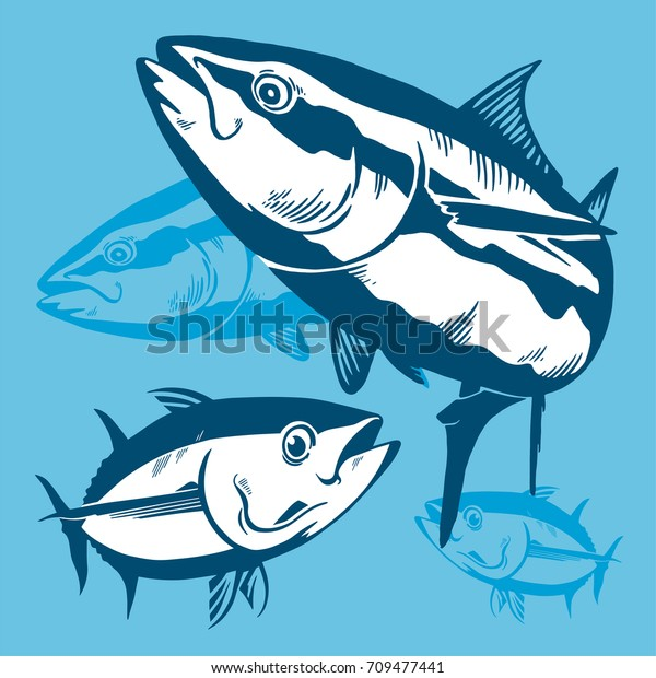 Tuna fish symbol composition on blue background,Vector. Sport fishing club, restaurant,