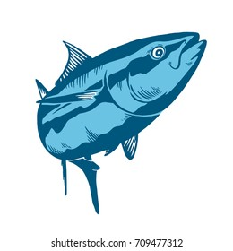 Tuna fish symbol on blue background,Vector. Sport fishing club, restaurant, canned, food logo