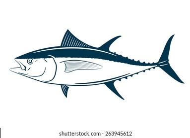 Tuna fish symbol on white background,Vector. Painting beautiful fish with action.