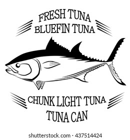 Tuna fish symbol on white background,Vector. Painting beautiful fish with action