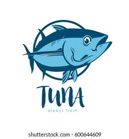 Tuna fish symbol on white background,Vector. Always fresh logo