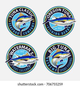 Tuna Fishing Logos. Vector Illustration.