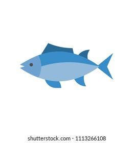 Tuna icon, set of ocean life icon, flat design vector