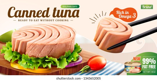Tuna is picked up with chopsticks in 3d illustration, canned food ads
