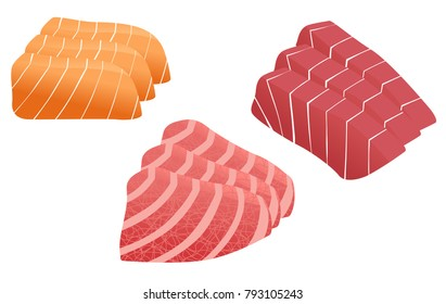 tuna and salmon sashimi vector