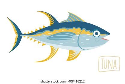 Tuna, vector cartoon illustration